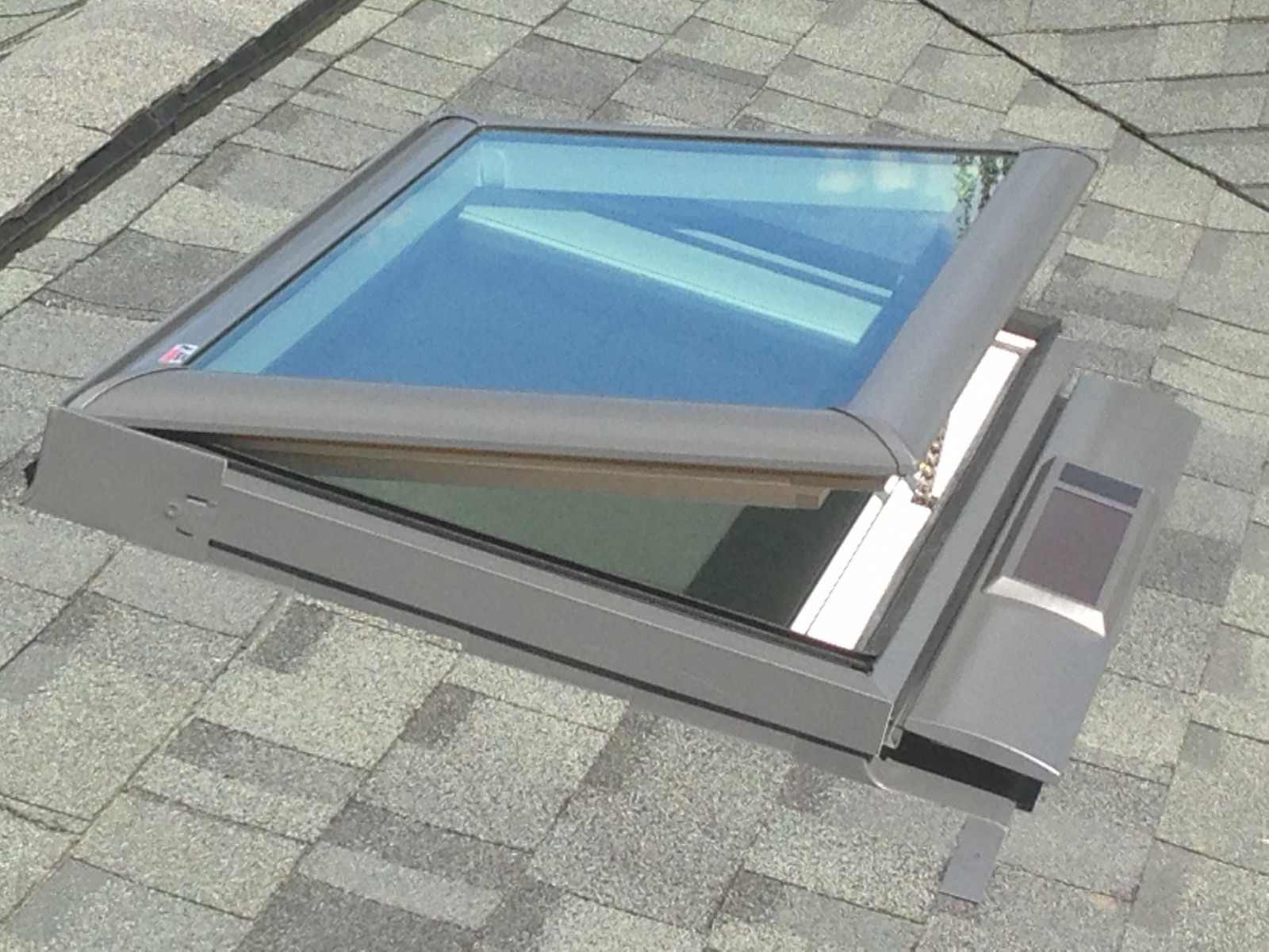Solar skylight opened
